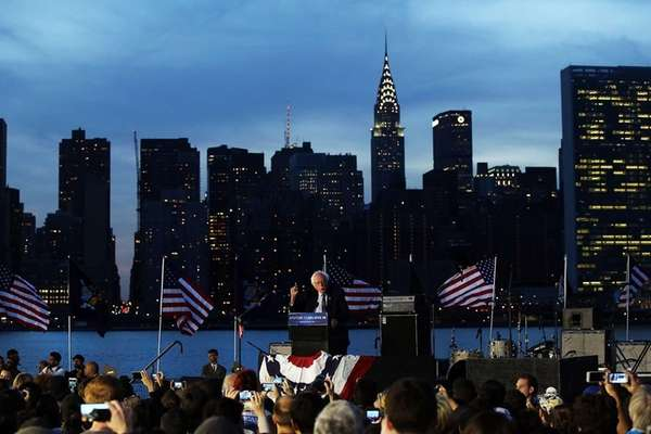 Democratic presidential candidate Bernie Sanders speaks at a