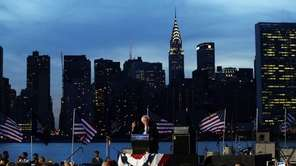 Democratic presidential candidate Bernie Sanders speaks at a