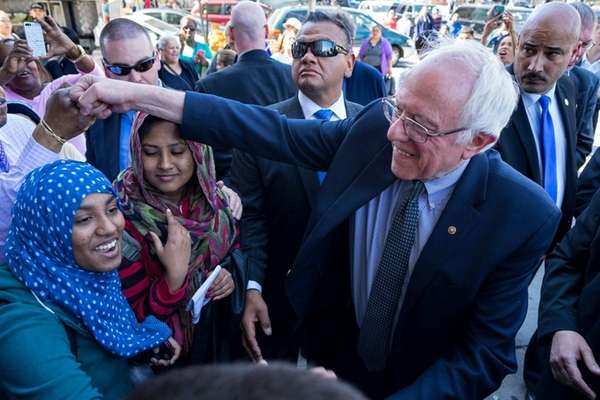 Democratic presidential candidate Bernie Sanders campaigning in the