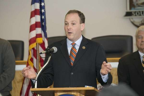 Rep. Lee Zeldin (R-Shirley) speaks at a news