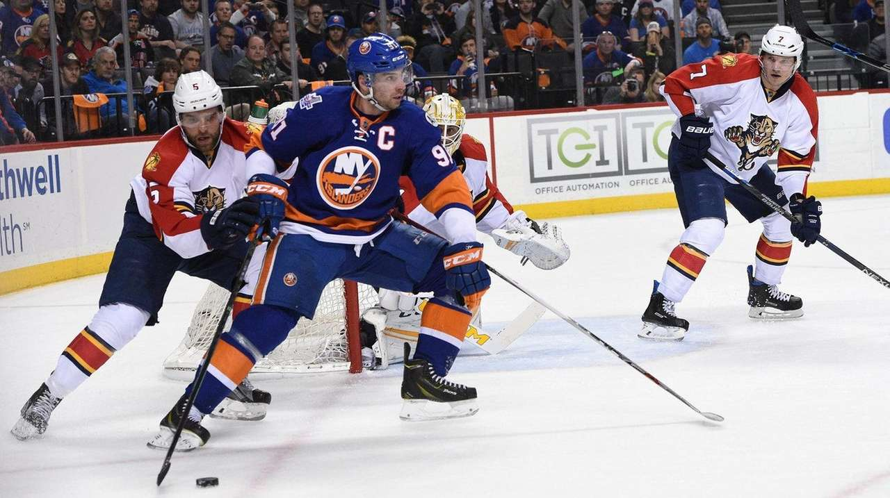 New York Islanders center John Tavares skates with