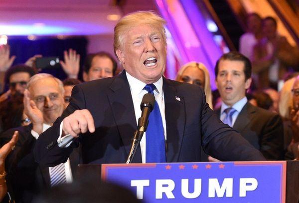 Republican presidential candidate Donald Trump addresses the media