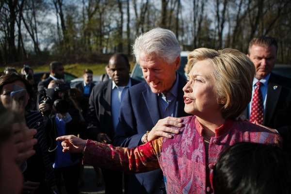 Democratic presidential candidate Hillary Clinton and her husband,