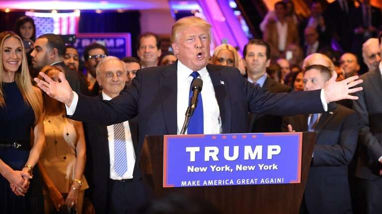 Republican presidential candidate Donald Trump speaks at a
