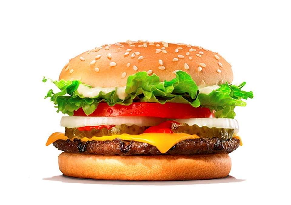 A Whopper Junior with cheese at Burger King.