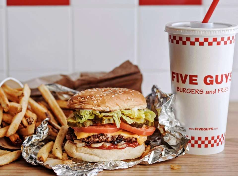 Five Guys' Little Cheeseburger with soda and French