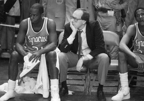 Syracuse coach Jim Boeheim, right, and Syracuse