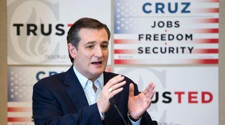 Republican presidential candidate Sen. Ted Cruz, R-Texas, gestures