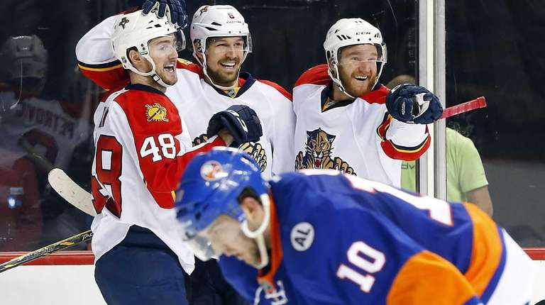 Alex Petrovic #6 of the Florida Panthers celebrates