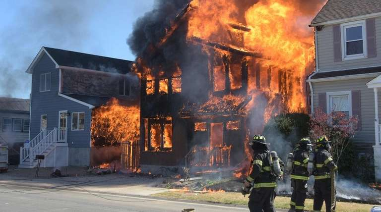 A fire in Copiague on Wednesday, April 20,