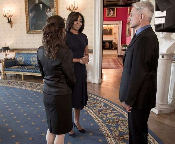 First lady Michelle Obama films a scene with