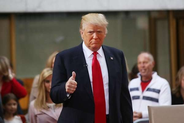 Republican presidential candidate Donald Trump appears at