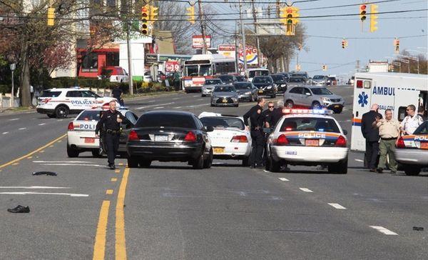 Nassau police investigate the scene of a crash