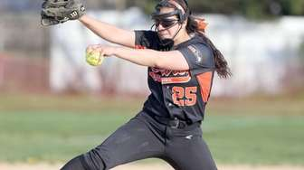 Carey's Rebecca Vilchez throws during a game against