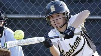 Sachem North's Alicia Ventiere tries to bunt her