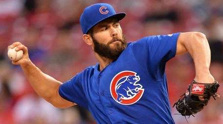 Jake Arrieta of the Chicago Cubs pitches
