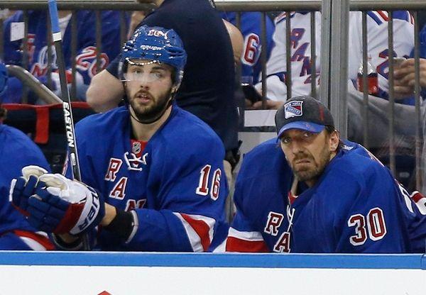 New York Rangers goalie Henrik Lundqvist watches from