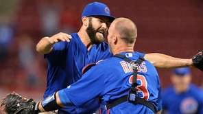 Jake Arrieta of the Chicago Cubs celebrates with