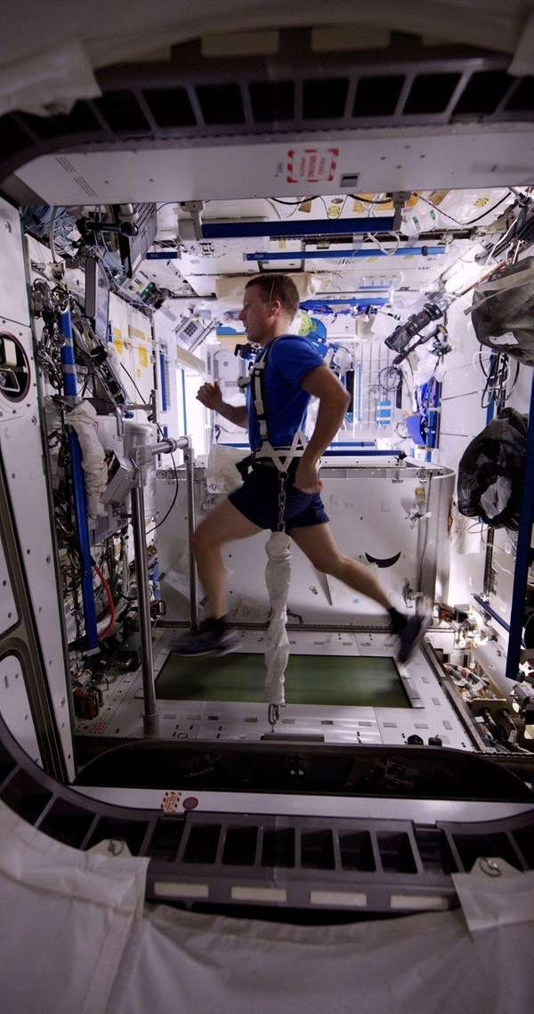 NASA Commander Terry Virts exercises on a treadmill