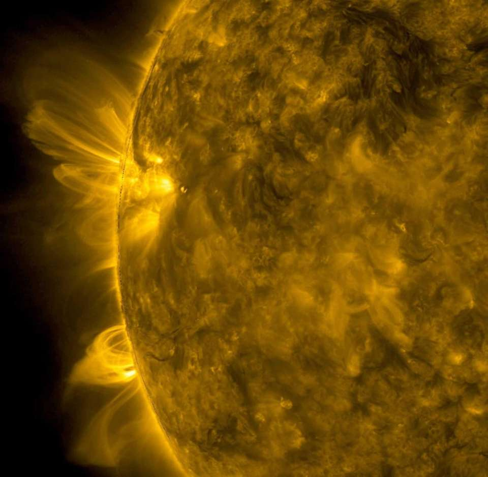 This photo made available by NASA's Solar Dynamics