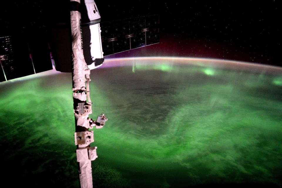 The aurora australis, or southern lights, are shown