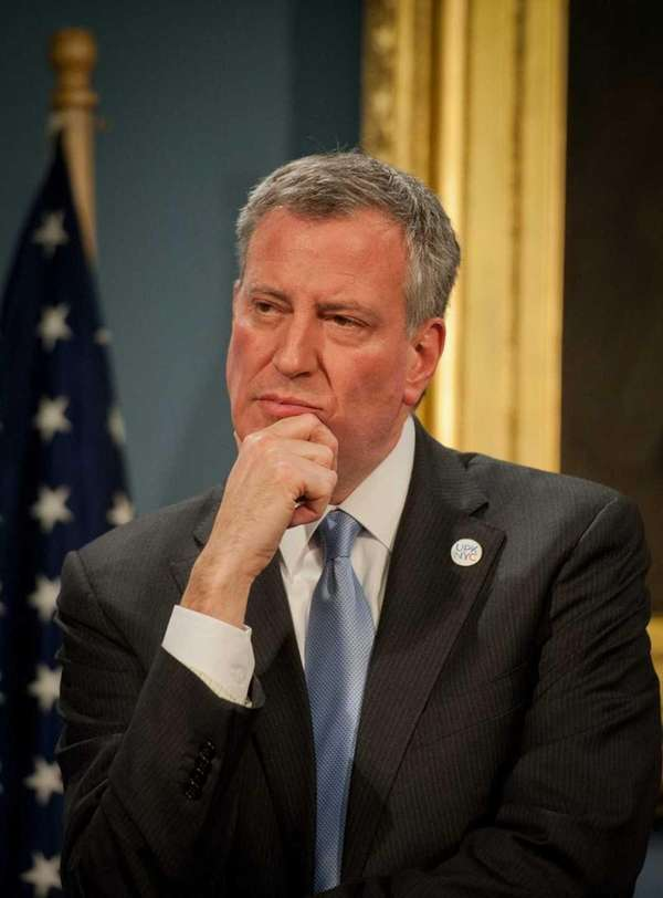 Mayor Bill de Blasio at a press