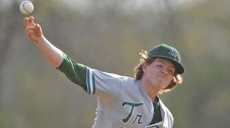 Thomas Crispyn #3, Holy Trinity starting pitcher, delivers