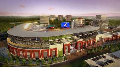 Rendering showing an aerial view of SunTrust Park,