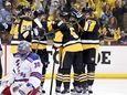 New York Rangers goalie Henrik Lundqvist (30) kneels