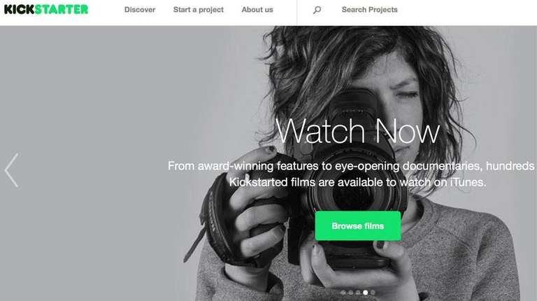 A screen shot of Kickstarter's home page.