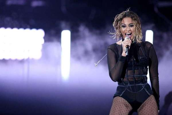 Beyoncé performs at the 56th annual Grammy Awards