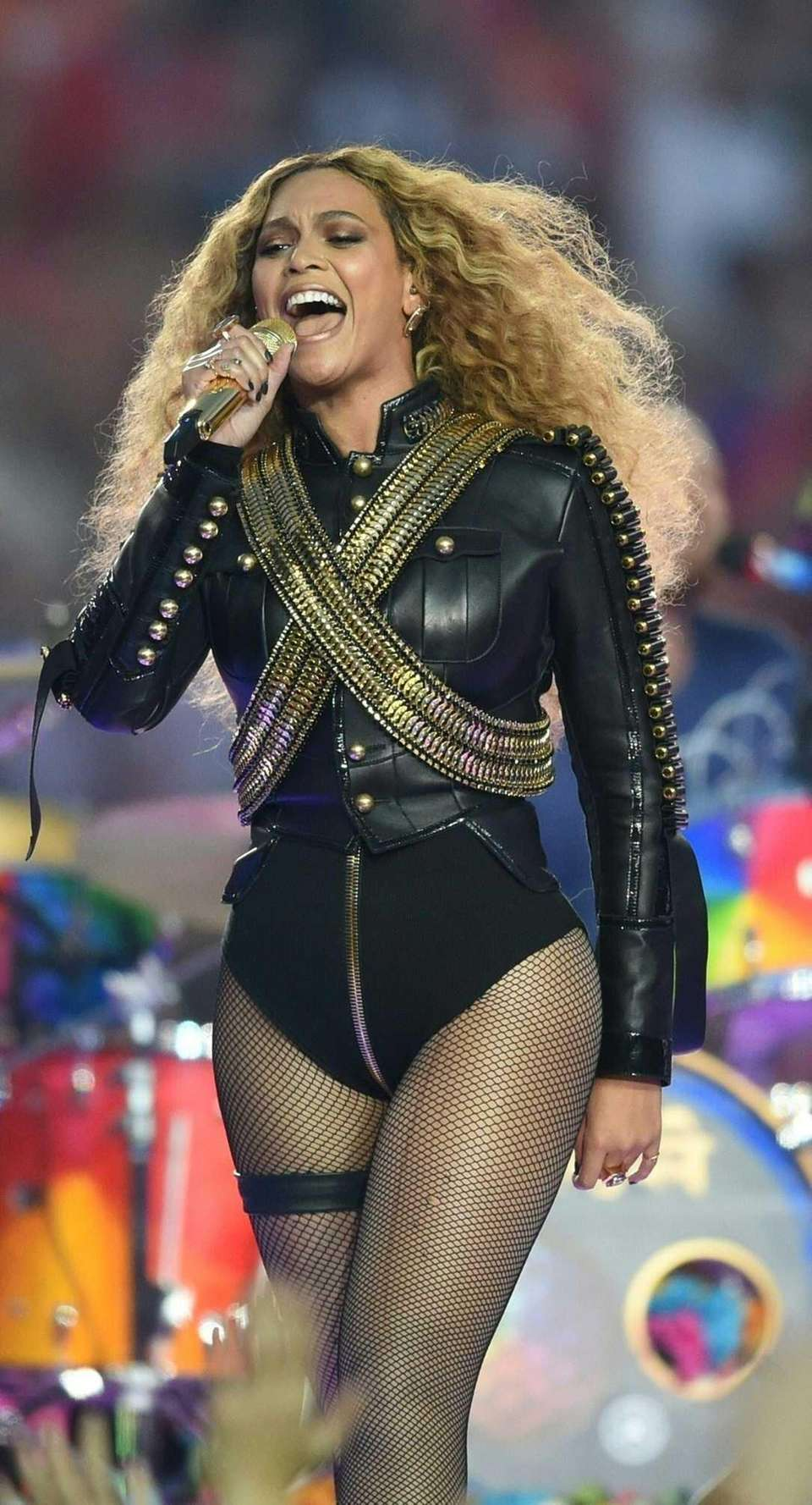 Beyoncé performs during Super Bowl 50 between the