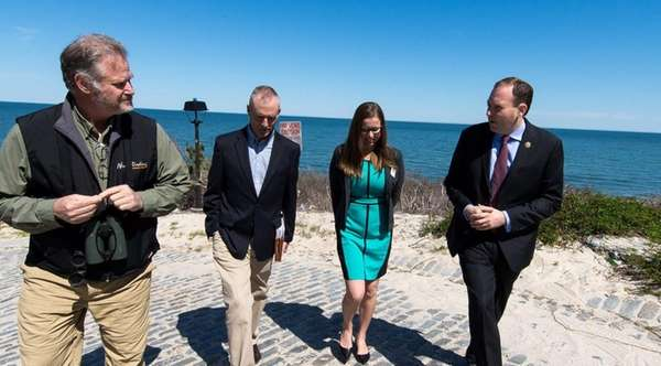 Rep. Lee Zeldin, far right, joins environmentalists and