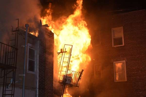Firefighters from eight Nassau County departments responded Monday,