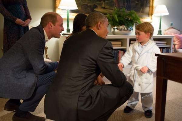 Britain's Prince George meets with President Barack Obama