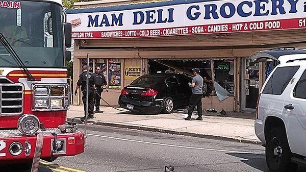 Nassau County police said a car crashed through