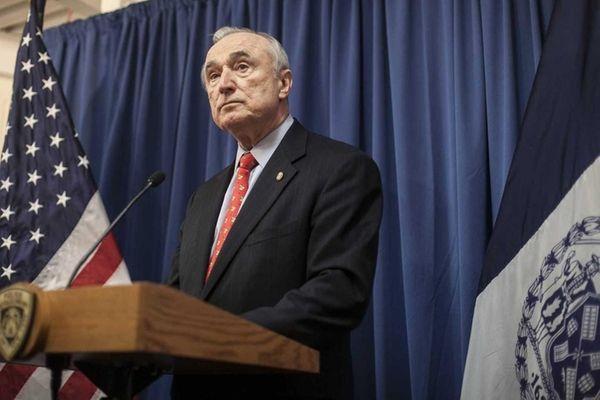 NYPD head Bill Bratton speaks to the media