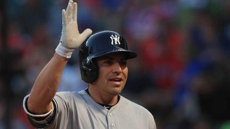 Jacoby Ellsbury of the New York Yankees celebrates