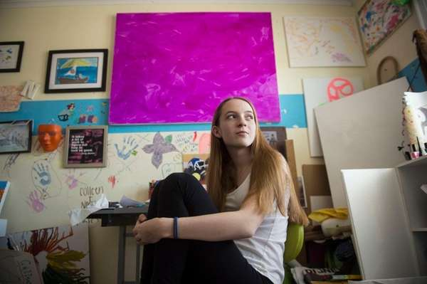 Colleen Sullivan, 17, in her art studio at