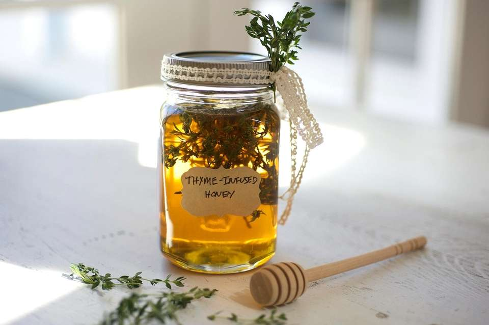 HERB-INFUSED HONEY 1/2 cup loosely packed fresh thyme,