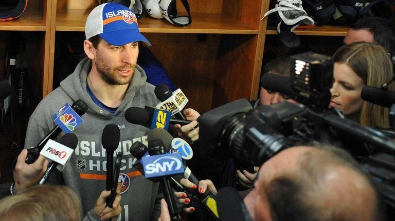 John Tavares of the New York Islanders speaks