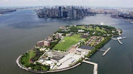 An aerial view of Governors Island in New