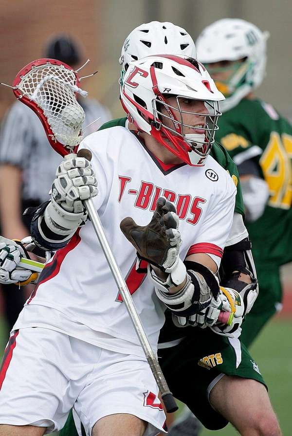 Connetquot's Collin Grippo, who scored five goals, moves