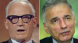 Onetime presidential candidates Sen. Barry Goldwater, left, and