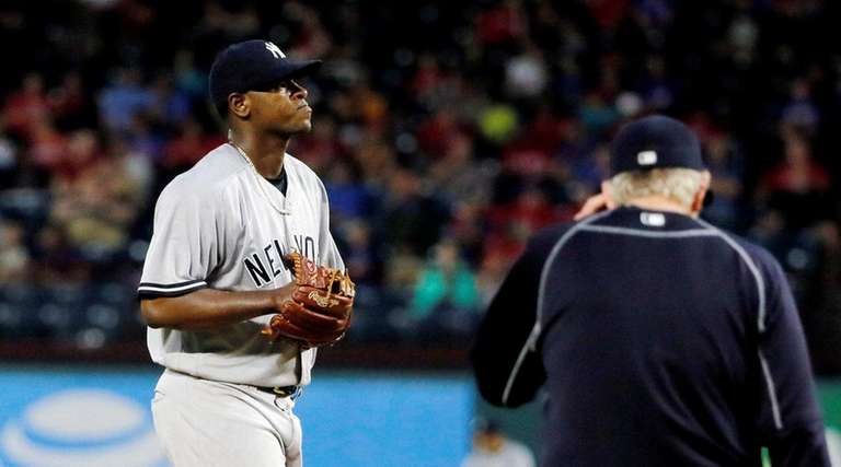 New York Yankees' Luis Severino waits for a