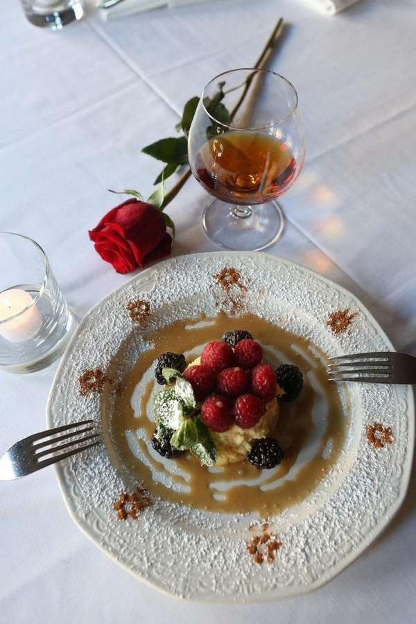 Panna cotta is served at Jonathan's Ristorante in
