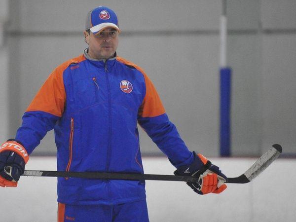 Islanders head coach Jack Capuano oversees team practice