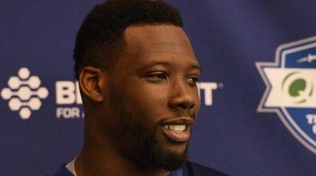 New York Giants defensive end Jason Pierre-Paul speaks