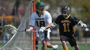 Lynbrook goalie J.D. Gebbia looks to pass upfield