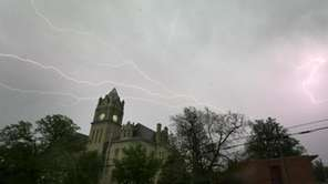 Lightning illuminates the sky over the Marion County